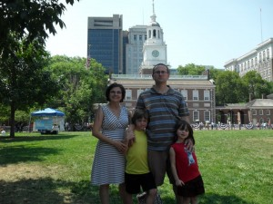 Cook family at Independence Hall, Philadelphia, PA